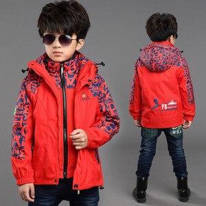 Image 2 - Kış erkek dış rüzgar geçirmez sıcak ceketler çocuk pamuk astar üçü bir arada giyim ve mont çocuklar su geçirmez baskı ceket