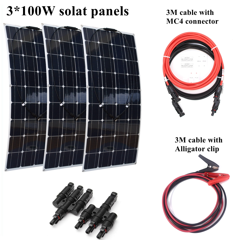 3*100W Mono Flexible Solar Panel Module with 3 in 1 Quick Connectors and Extended Cables Houseuse 300W Solar System