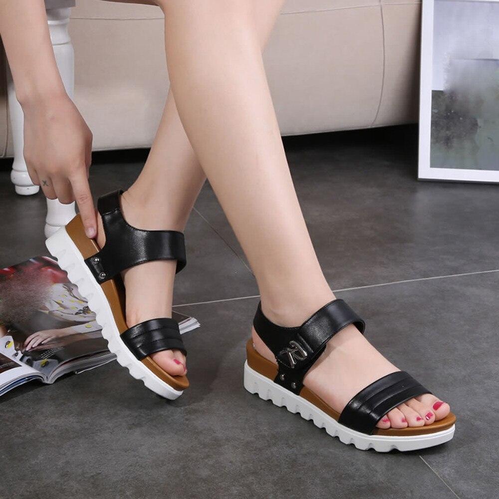 Summer Sandals Women Aged Flat Fashion Sandals Comfortable Ladies Shoes