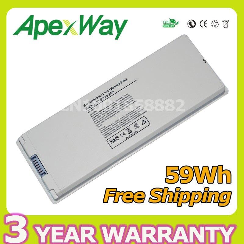 Apexway White 59wh 10.8v Laptop Battery for Apple MacBook 13″ A1181 A1185 MA566 MA561 MA561J/A MA254 MA255 MA472 MA699 MA700
