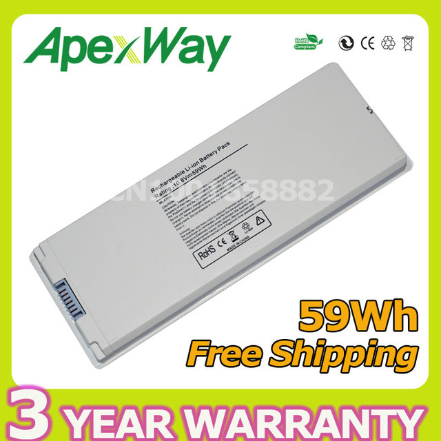 "Apexway White 59wh 10.8v Laptop Battery for Apple MacBook 13"" A1181 A1185 MA566 MA561 MA561J/A MA254 MA255 MA472 MA699 MA700"