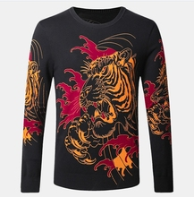 Men Animal Knitwear Sweaters Men Round Neck Pullovers Tiger Printed Casual Slim Size M-4XL Autumn Winter Thin Clothing Male K124