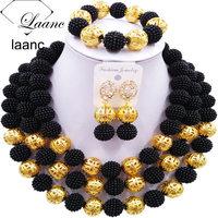 Laanc Women Fashion African Beads Jewelry Set Black Necklace Nigerian Bridal Wedding Jewelry Sets 3CZJ003