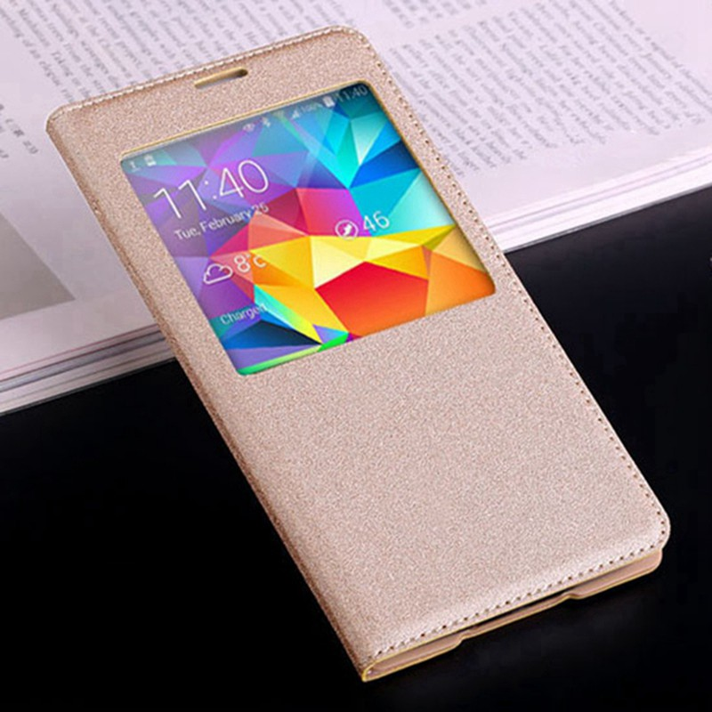 Smart Touch View Flip Cover Auto Sleep Wake læderetui med original chip til Samsung Galaxy S5 I9600 G900 G900F G900H G900M