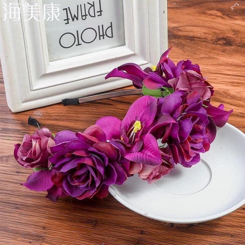 Haimeikang Purple Girl Flower Headband Fabric Princess Headdresses Girls Bride Headbands Women Beach Wedding Hair Accessories