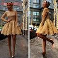 Vestidos Homecoming 2016 Curto Prom Vestidos de Formatura de Ouro A Linha Completa Da Luva de Cetim com Applique e Beads 8ª série Vestidos