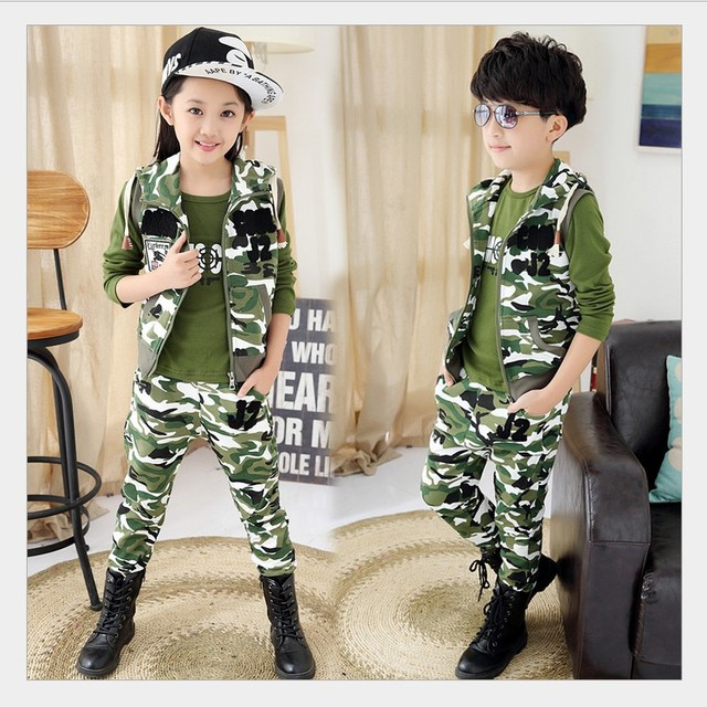 Child Camouflage Clothing  Set 3 Pcs 2015 Children's Sport Suit for Boys&Girls Spring&Autumn Cotton Camo Camouflage Clothing set