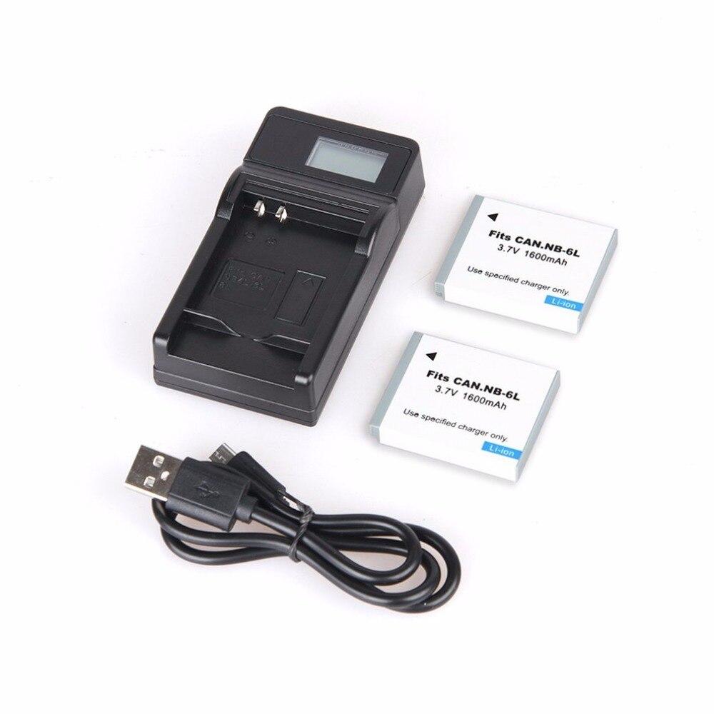 2pcs 1600mAh NB-6L NB 6L NB6L Battery + LCD USB Charger For Canon IXUS 310 SX275 SX280 SX510 200 105 210 300 S90 S95 SD1300