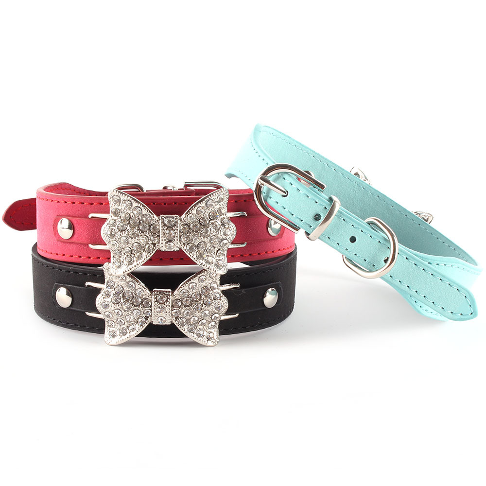 Small Pet Bling Crystal Rhinestone Bow Tie PU Leather Pet Cat Puppy Dog Collar XS S M