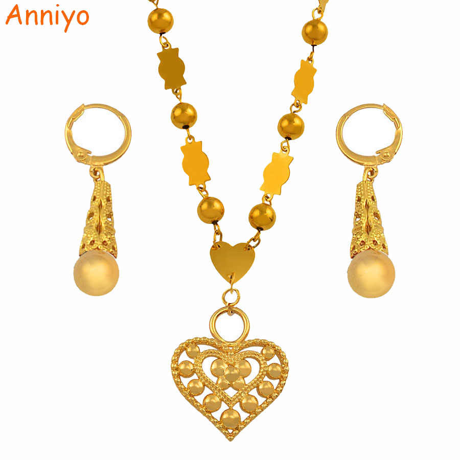Anniyo Micronesia Jewelry sets Colorful Stone Heart Pendant Necklace Earrings Round Beads Chain Marshall Jewellery Guam #133906S