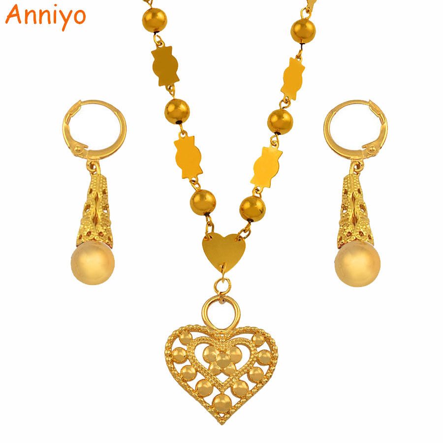 Anniyo Micronesia Jewelry sets Colorful Stone Heart Pendant Necklace Earrings Round Beads Chain Marshall Jewellery Guam #133906SAnniyo Micronesia Jewelry sets Colorful Stone Heart Pendant Necklace Earrings Round Beads Chain Marshall Jewellery Guam #133906S