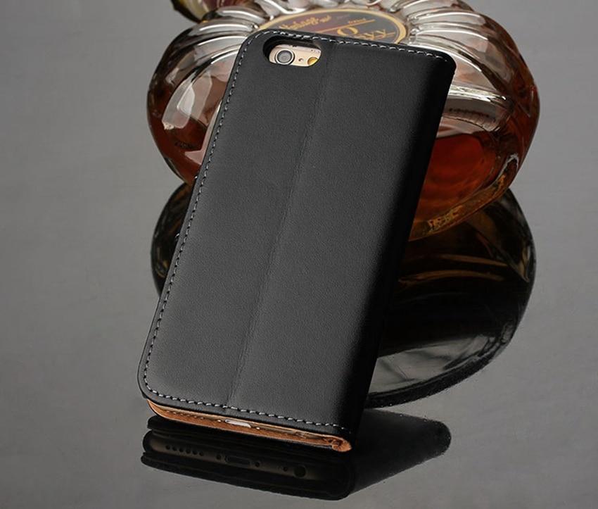 Äkta äkta läder plånbok väska Magnetlås Kickstand Flip baksida - Reservdelar och tillbehör för mobiltelefoner - Foto 3