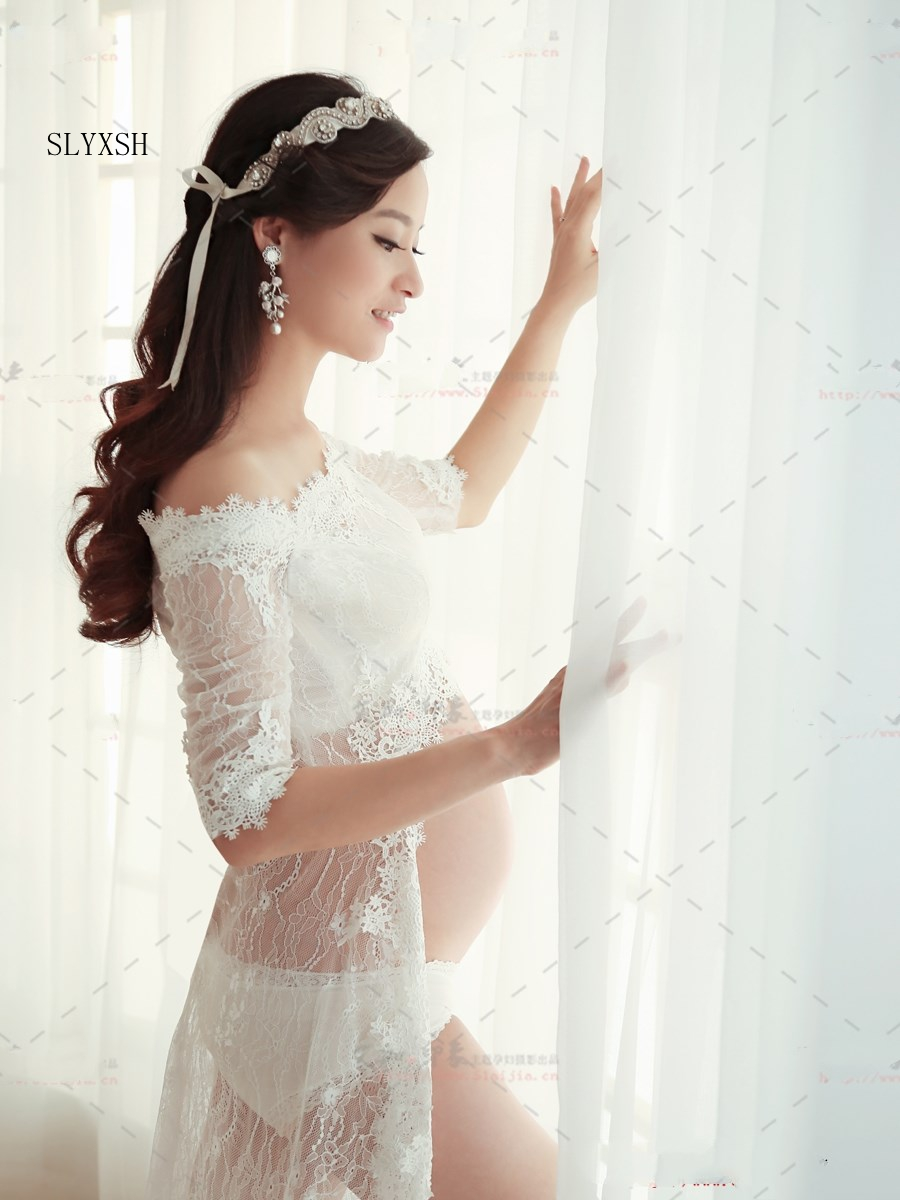 Fancy Maternity Photography Props White Lace Gown Belly ...