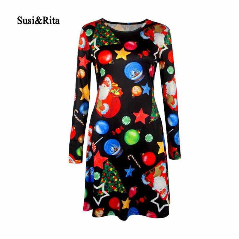 dd781264e85 Susi   Rita 5XL плюс Размер рождественское платье с принтом женское 2018  Повседневное платье с длинным