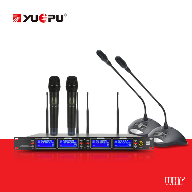 Whole metal! YUEPU RU-U1000 4 Conference Microphone Handheld Wireless With Reciver Vocal Audio System For Meeting Stage Church high end uhf 8x50 channel goose neck desk wireless conference microphones system for meeting room