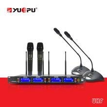 Todo o metal! YUEPU RU-U1000 4 Conferência Microfone Sem Fio Handheld Com Reciver Vocal Sistema De Áudio Para Estágio Reunião Da Igreja