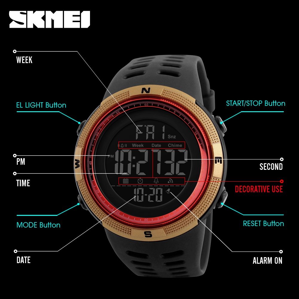 Watches ... Men's Watches ... 32801594520 ... 3 ... SKMEI Brand Men Sports Watches Fashion Chronos Countdown Men's Waterproof LED Digital Watch Man Military Clock Relogio Masculino ...