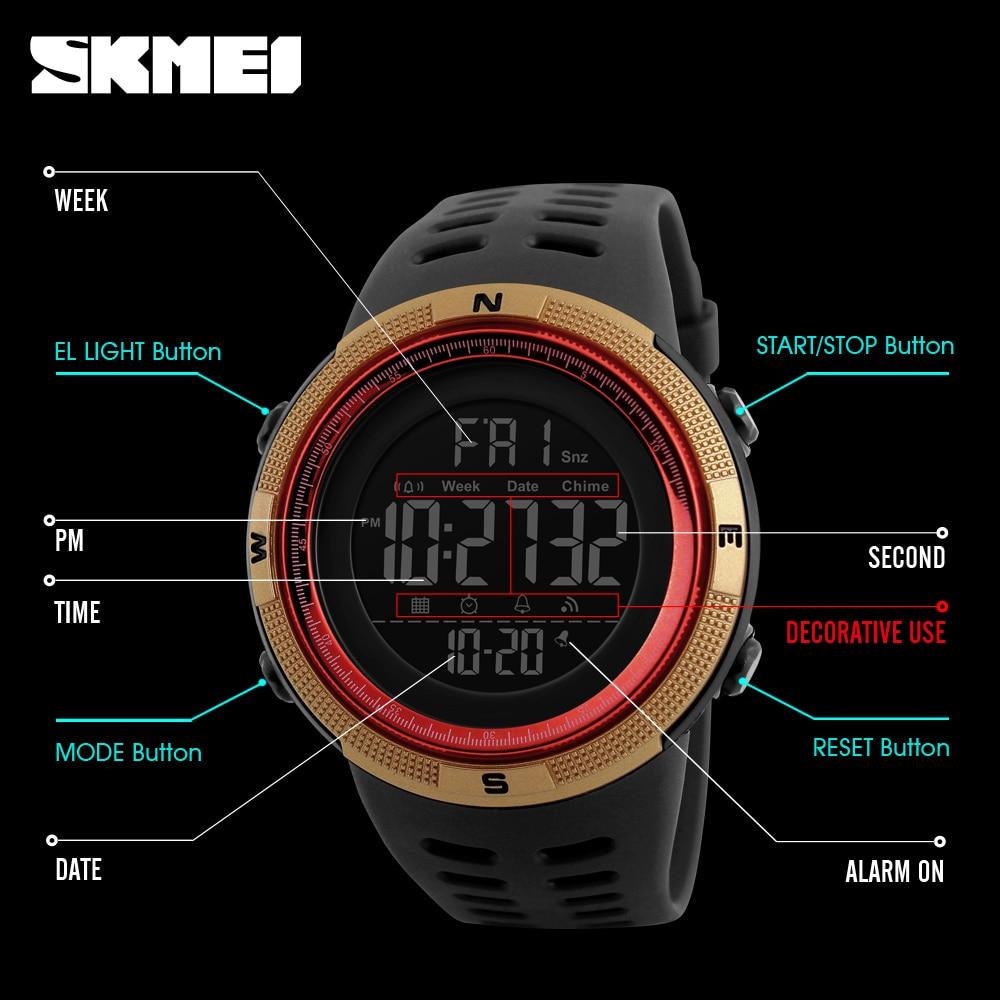SKMEI Brand Men Sports Watches Fashion Chronos Countdown Men's Waterproof LED Digital Watch Man Military Clock Relogio Masculino 6