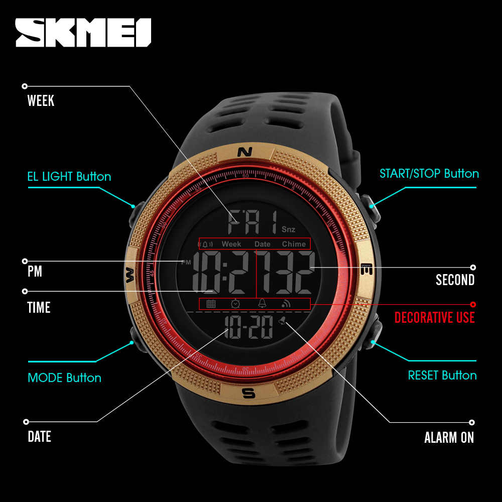 SKMEI marque hommes sport montres mode Chronos compte à rebours hommes LED étanche montre numérique homme horloge militaire Relogio Masculino