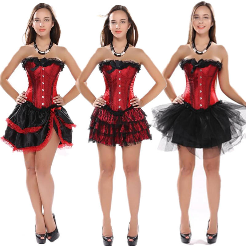 Sexy Satin Lace up Boned Overbust Corset and Bustier with Lace Trim Dancer Showgirl Corset Tops And Skirt