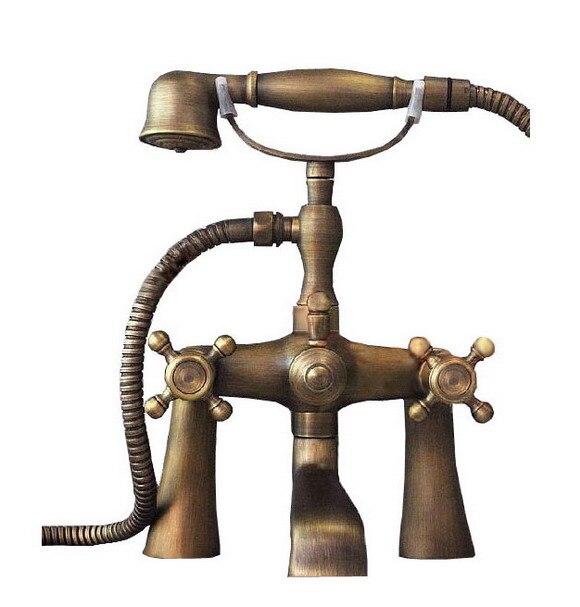 Vintage Antique Brass Deck Mount Dual Handle Clawfoot Bathroom Handheld Shower Faucet Set Bathtub Mixer Tap Ctf023 стоимость