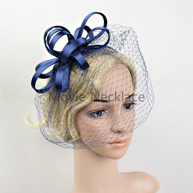 New Satin Birdcage Veil Fascinator Flower Feather Top Headdress For Women Headpiece Elegant Tail Party Hair