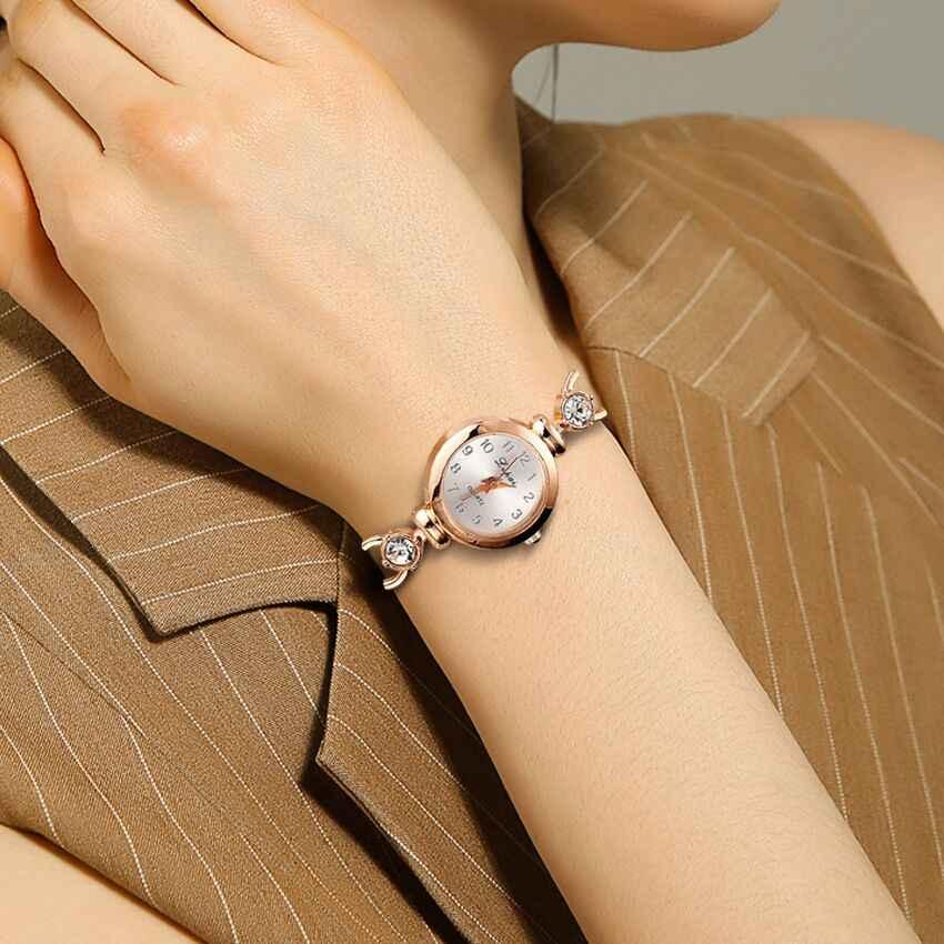 สุภาพสตรี Elegant นาฬิกาข้อมือผู้หญิงสร้อยข้อมือ Rhinestones Analog ควอตซ์นาฬิกาคริสตัลคริสตัลขนาดเล็กนาฬิกา Reloj # B