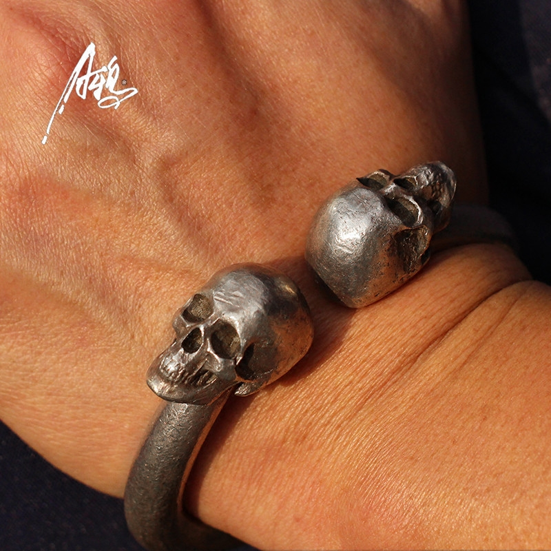 Image 5 - Vintage Skull Bracelet Heavy Quality Design 80*78mm Skeleton Bangle Men Man Male Punk Rock  S925 Jewelry Personality Present DHL-in Charm Bracelets from Jewelry & Accessories