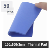 50Pcs 100x100x3mm Blue Silicone GPU CPU Heatsink Cooling Conductive Silicone Pad Cut & Uncut Thermal Pad Mat Silicone Pad