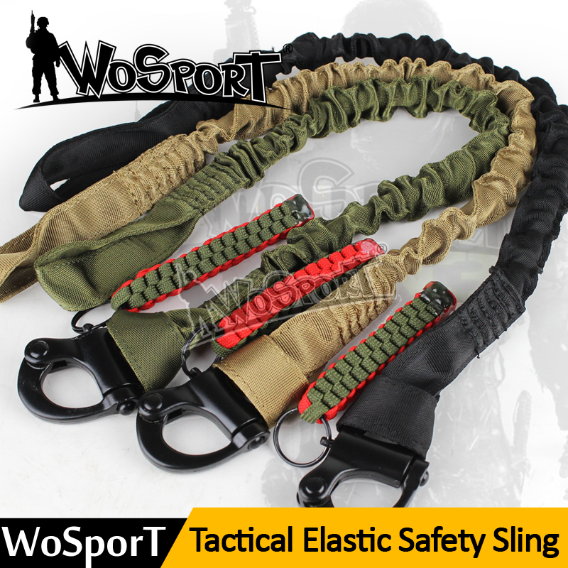 WOSPORT Military Safety Lanyard Strap Rope Quick Release Line Climbing Rope Tactical Protective Gun  For Outdoor Hunting Sling
