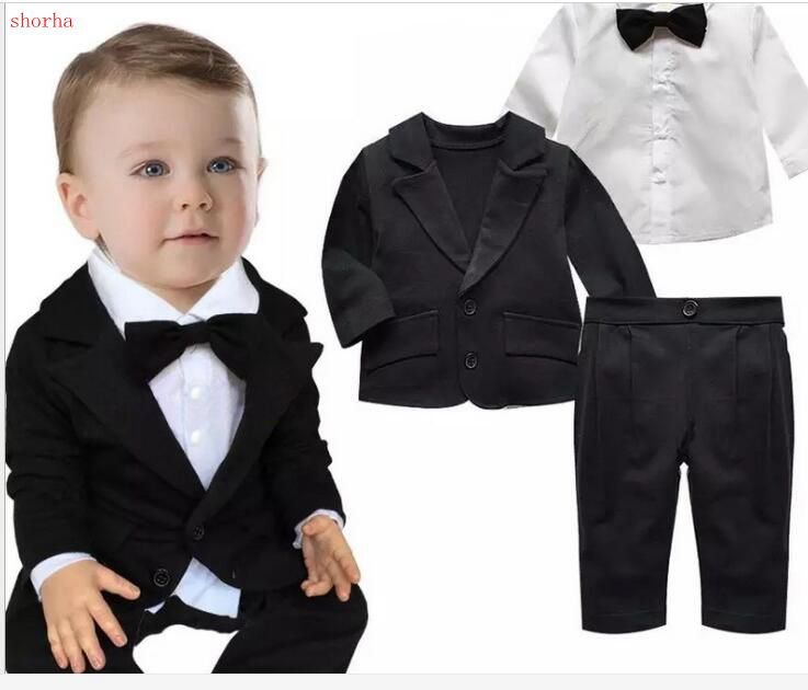 Baby Boys Formal Blazer Suits For Weddings Toddler Jacket+Blouse+Pants 3 Pieces/set Costume Infant Cotton Single Breasted Blazer