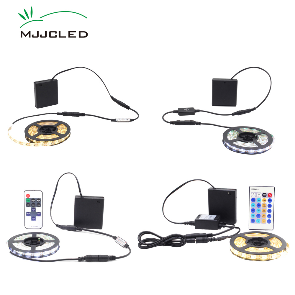 Battery Powered  LED Strip Light Dimmable Battery Operated LED Tape Remote Touch SMD 3528 5V Waterproof Warm White LED Ribbon