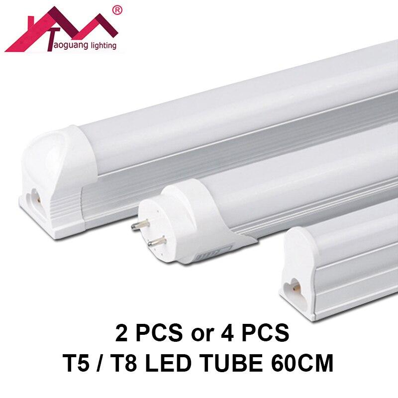 2pcs or 4pcs LED Tube T5 or T8 60CM SMD2835 LED Fluorescent Tube LED 220V 10W Lamp Tube Ampoule Light Bulb Cold White Warm White