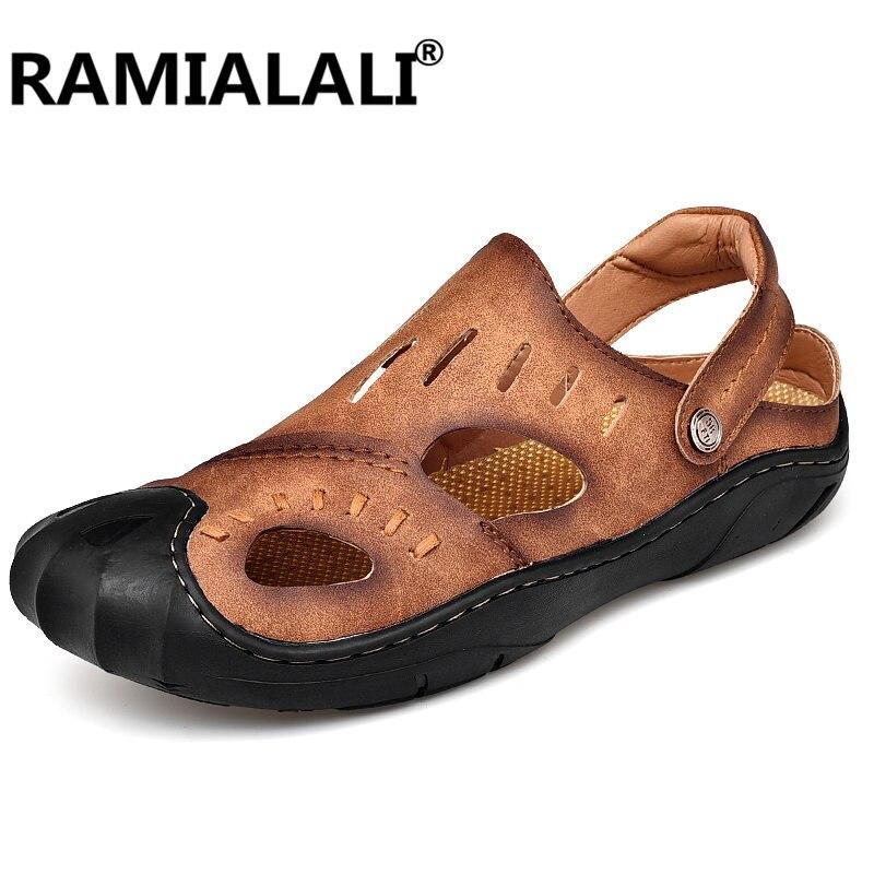 En Ramialali Cuir Hommes Plage Gladiateur Véritable Sandales