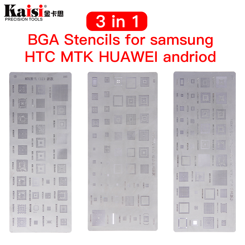 High quality 3pcs universal <font><b>BGA</b></font> <font><b>Stencils</b></font> for <font><b>MTK</b></font> Samsung HTC Huawei Android Directly Heated <font><b>BGA</b></font> <font><b>Reballing</b></font> <font><b>Stencils</b></font> Kit image