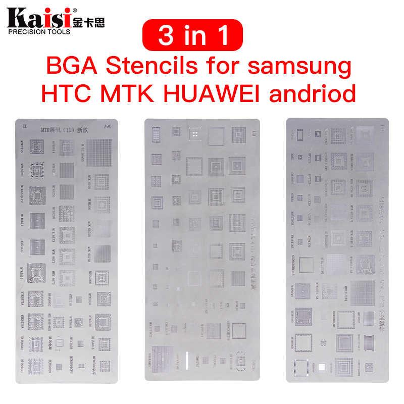 Yüksek kalite 3 adet evrensel BGA şablonlar için MTK Samsung HTC Huawei Android doğrudan ısıtmalı BGA Reballing şablonlar kiti