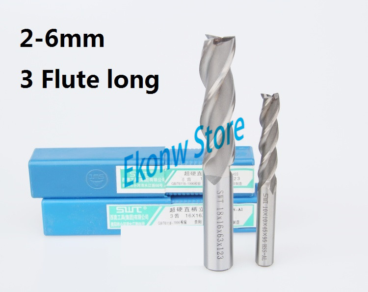 10pcs 2mm 3mm 4mm 5mm 6mm Extended lengthening Long End Mill ,Three Flute HSS & Aluminium End Mill Cutter CNC Bit 3 175 12 0 5 40l one flute spiral taper cutter cnc engraving tools one flute spiral bit taper bits