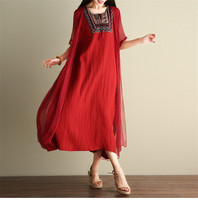 Chinese Style National Maternity Summer Dress Embroidery Beach Maternity Dress Fake Two Dress Pregnant Women Cloth Long Dress