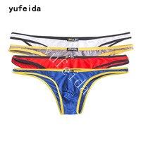 YUFEIDA Bán Buôn 4 cái/lốc Nam Sexy Cotton Modal Rắn Quần Lót Mặc Bikini Sheer Đồ Lót Người Đàn Ông Đồng Tính Couple Outfit Vận Chuyển Miễn Phí