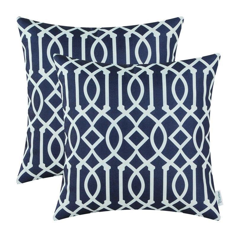 2PCS Square CaliTime Cushion Covers Pillows Shell Stripe