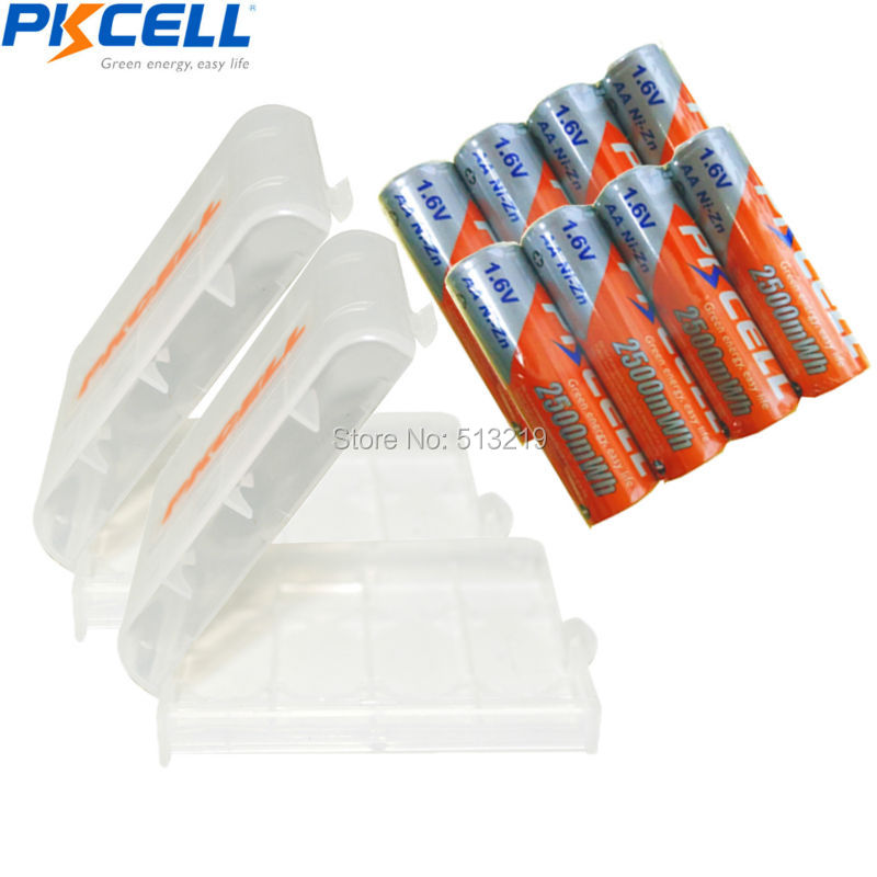 8 x 2500mWh 1.6V PKCELL Ni-Zn AA Rechargeable <font><b>Battery</b></font> and 2PCS <font><b>Battery</b></font> HOLD CASE BOX For Toys,Digital camera, MP4