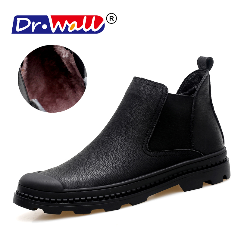 NEW Men Chelsea Boots Ankle Boots Fashion Men's Male Brand Leather Quality Slip Ons Motorcycle Man Warm High Top Sneakers