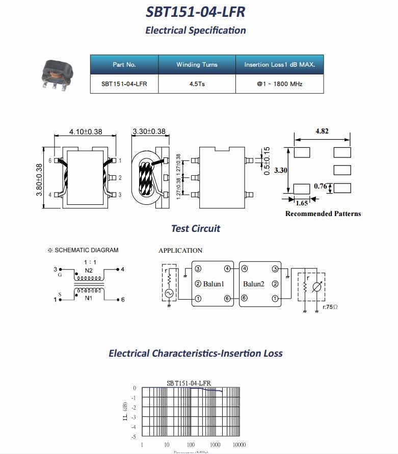 Original new 100% SBT151-04-LFR 1:1 patch RF transformer 1-1800MHZ balun  transformer