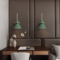 New Nordic wall lamp Bedside lamp Bedroom Modern living room Walkway Staircase Simple pure wood wrought iron wall lamp LED lamp