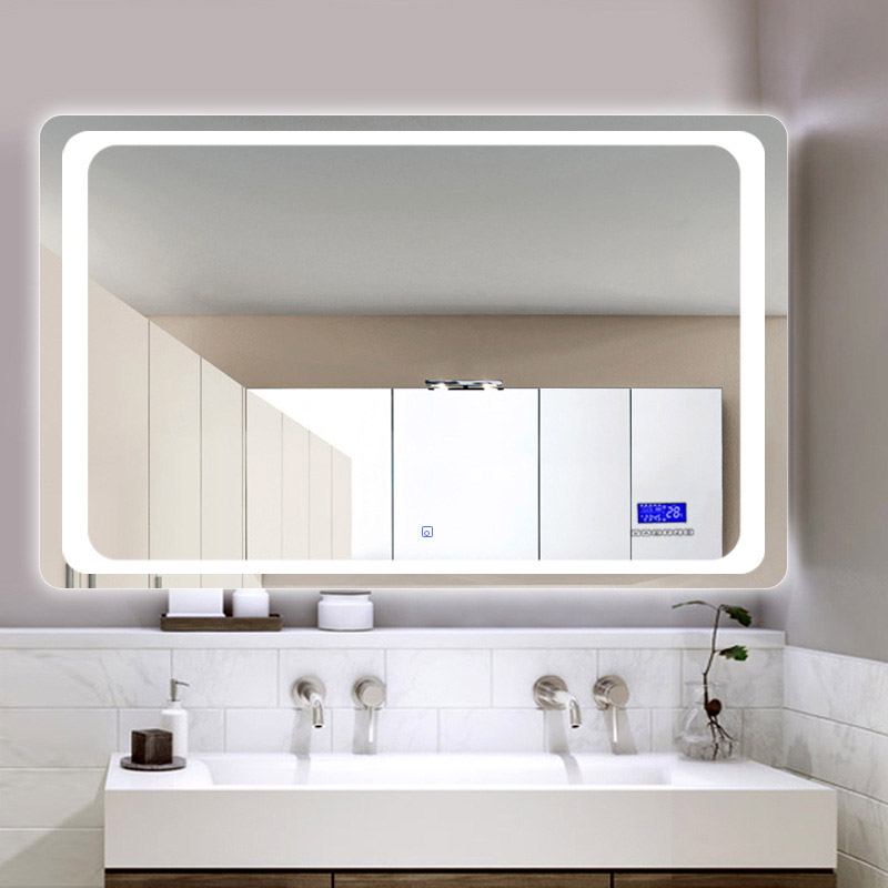 Glamo Hotel Custom Touch Bluetooth Bathroom LED Mirror Smart Anti fog Wall Vanity mirrorl For Home 2 Colors Light espejo pared tocador 3