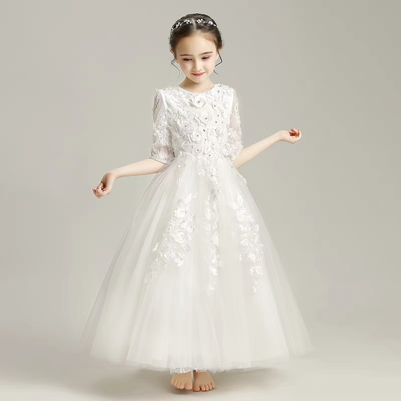 20ffb7007b2d7 Luxury Children Girls White Color Wedding Birthday Party Princess Lace  Dress Kids Baby Piano Host Costume Pageant Flowers Dress