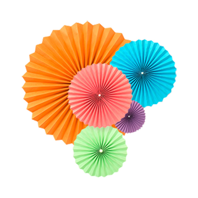 40cm Mixed Colour Chinese Tissue Paper Flower Fan Fancy Decorative