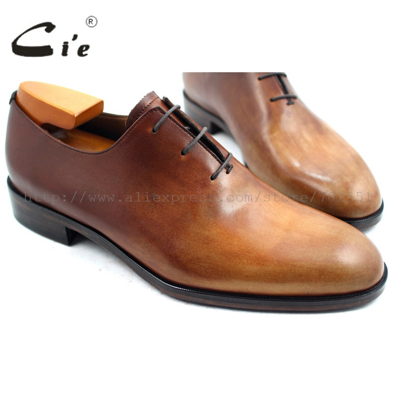 cie Free Shipping Custom Bespoke Handmade Genuine Calf Leather Men's Oxford Shoe Color Brown Patina No.OX222 (adhesive craft) купить часы haas lt cie mfh211 zsa