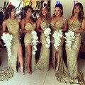 5 Estilos Elegantes Da Sereia Ouro Vestido De Convidados Do Casamento Da Dama de Honra Vestidos de Alta Fenda Até O Chão Lantejoulas Robe de Demoiselle D'honneur