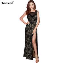 Tonval Women Evening Party Elegant Floral Lace Maxi Dresses Female Sleeveless See Through Mesh Patchwork Sexy Split Long Dress